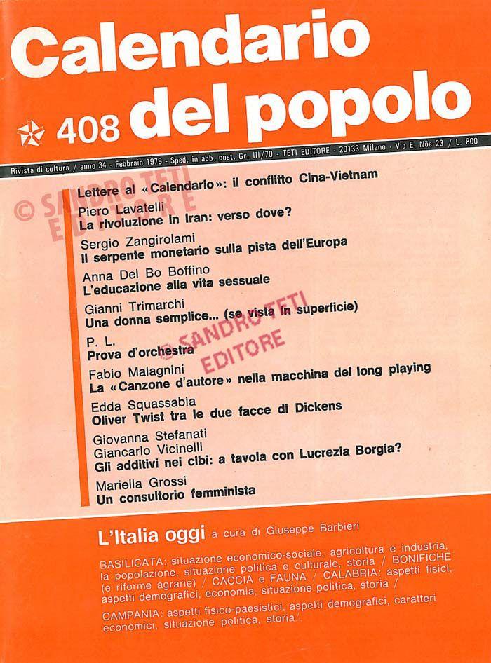 Calendario Del 1979.Il Calendario Del Popolo N 408 1979 Il Calendario Del