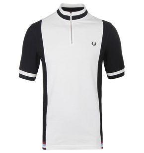 Fred Perry Bradley Wiggins Black   White Contrast Panel Polo Shirt ... 8a59a1e2e