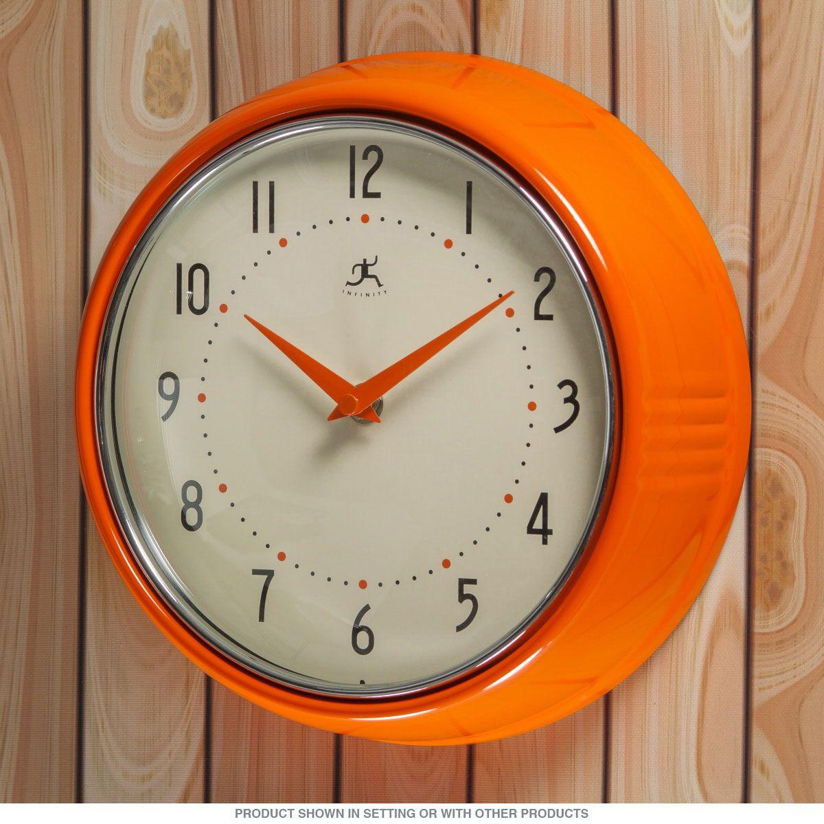 Orange FiftiesStyle Kitchen Wall Clock Orange wall clocks