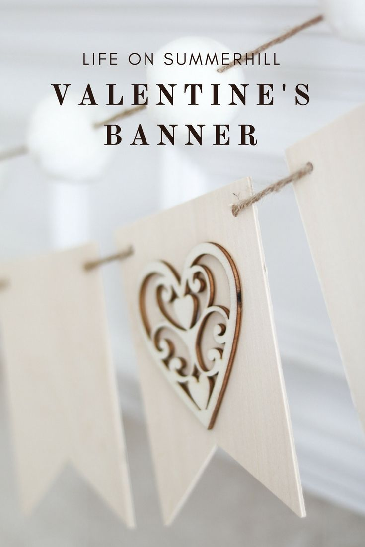 VALENTINE\'S BANNER IDEA MADE WITH LOVE | Mantelpiece, Craft ideas ...