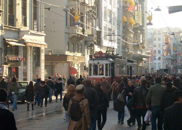 A good shot of lower Taksim Squarte, in the Beyoglu District.
