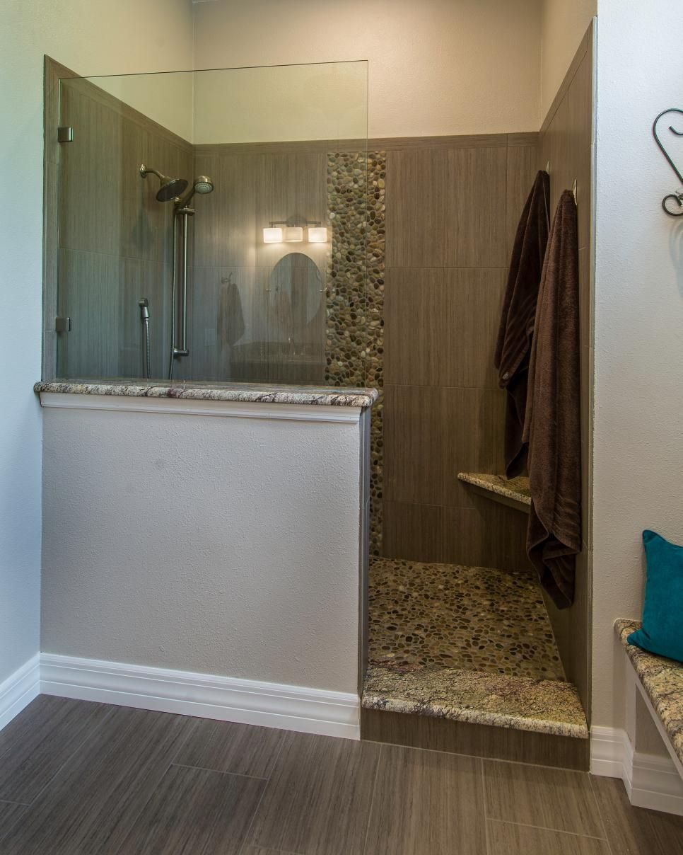 small walk in shower with curtain google search bathroom this master bathroom features a walk in shower with a partial glass enclosure and taupe