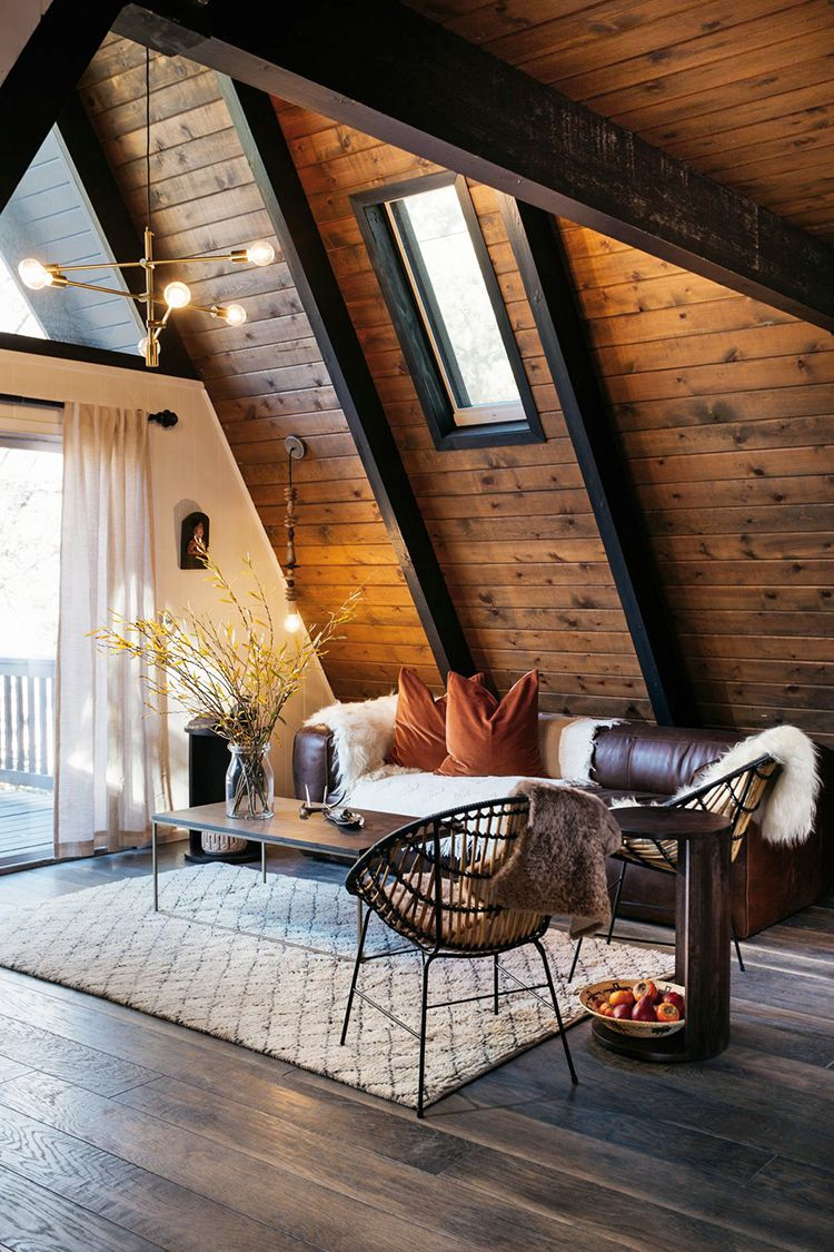 This Is A Harmonious Room With The Darker Brown On The Floor Ceiling And Furniture There Is Also A Harmony Of In 2020 Cabin Interior Design A Frame House Cozy House