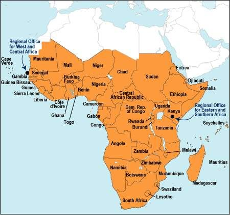 The Sub Saharan African Map. There were limited connections with