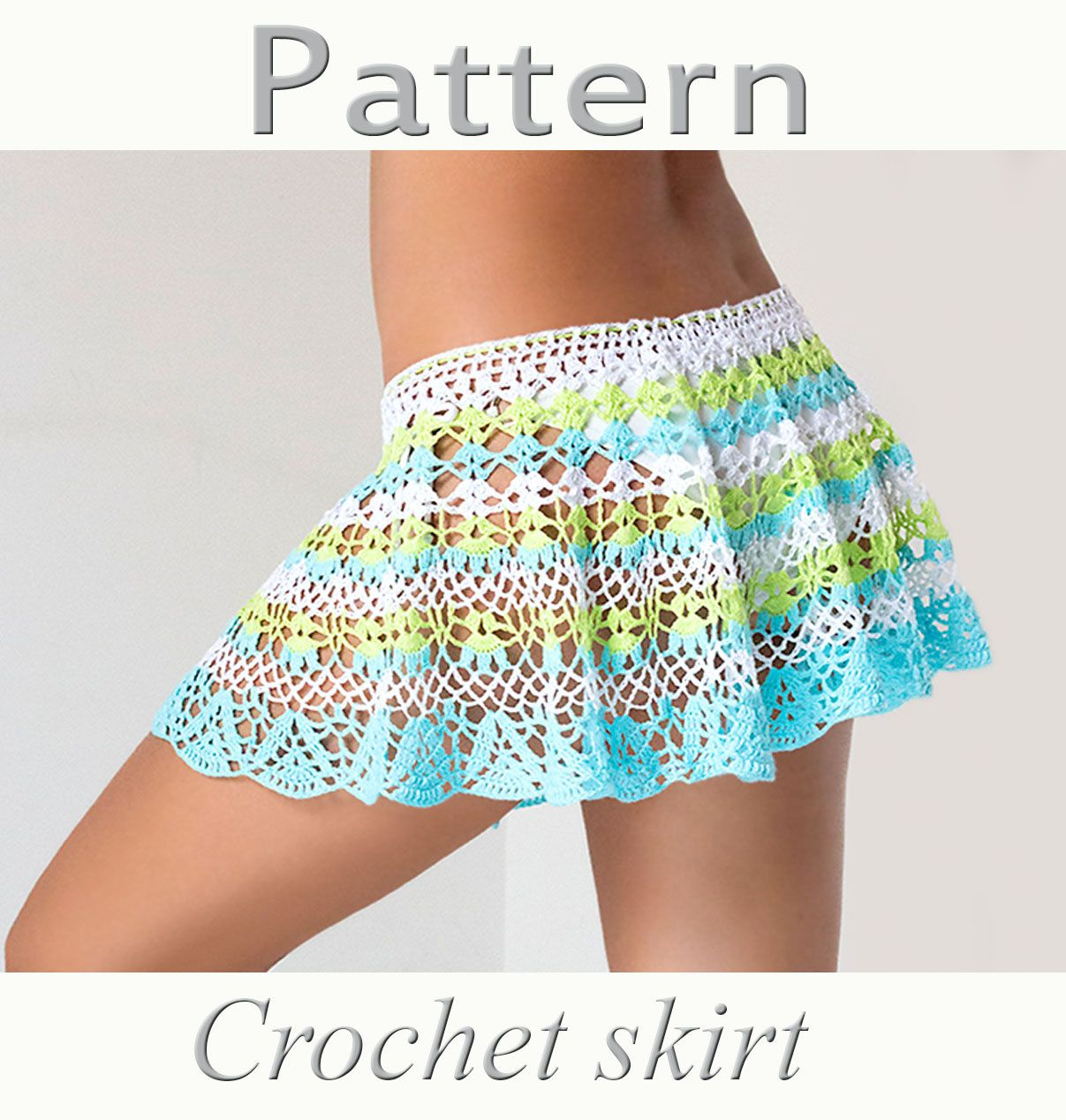 Crochet beach skirt PATTERN PDF crochet cover up | Falda de playa ...