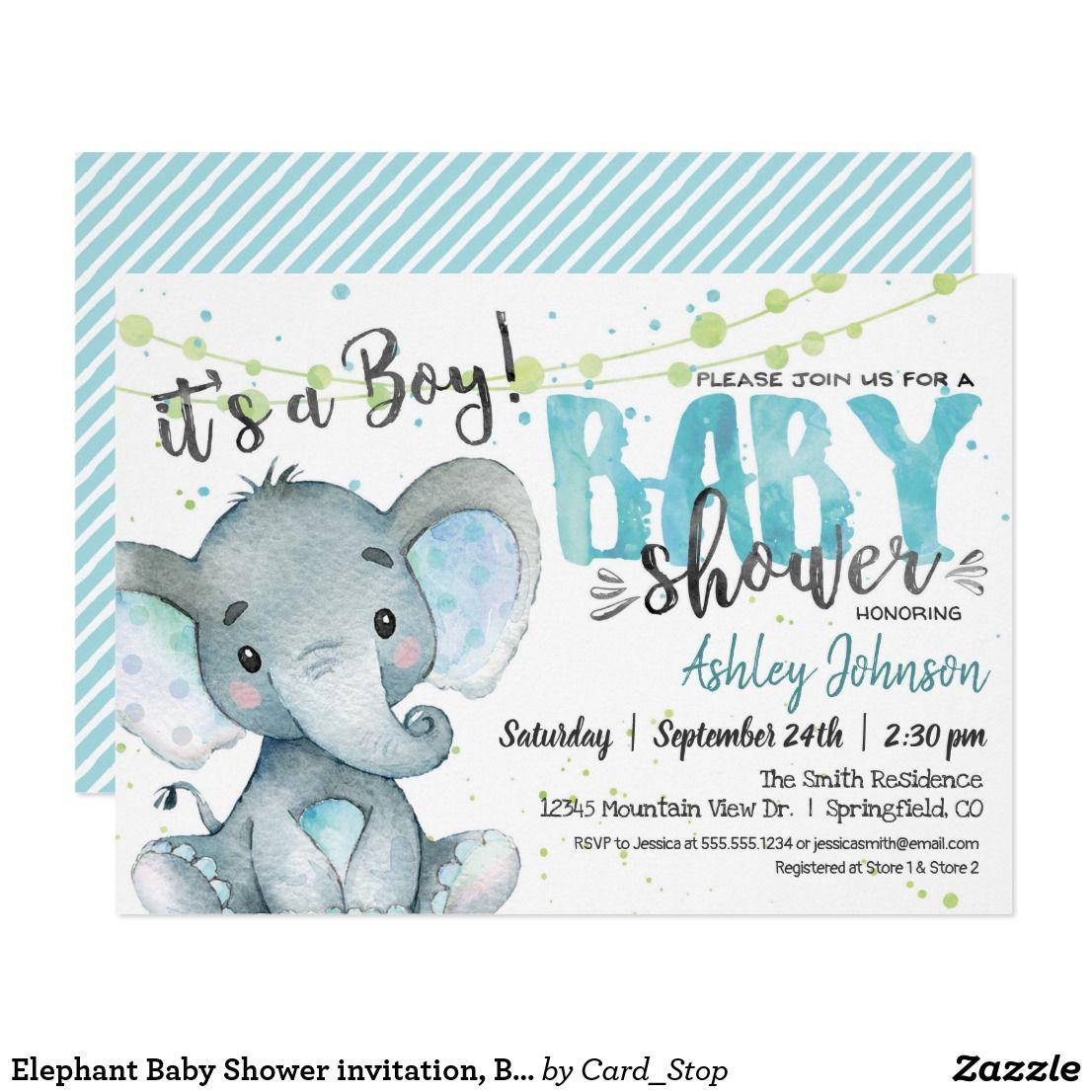 Elephant Baby Shower Invitation Boy Invitation Zazzle Com Elephant Baby Shower Invitations Boy Elephant Baby Shower Boy Elephant Baby Shower Invitations