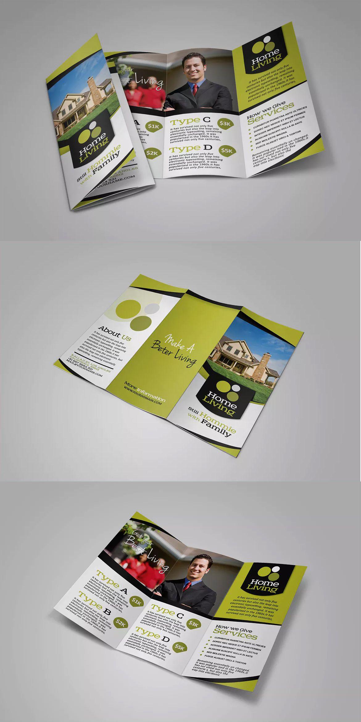 Living Real Estate Brochure Template Psd Print Designs Pinterest