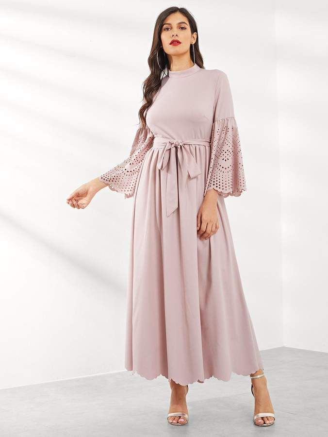 ff3b0bd616ee9 Shein Laser Cut Scalloped Bell Sleeve Dress in 2019 | Products ...