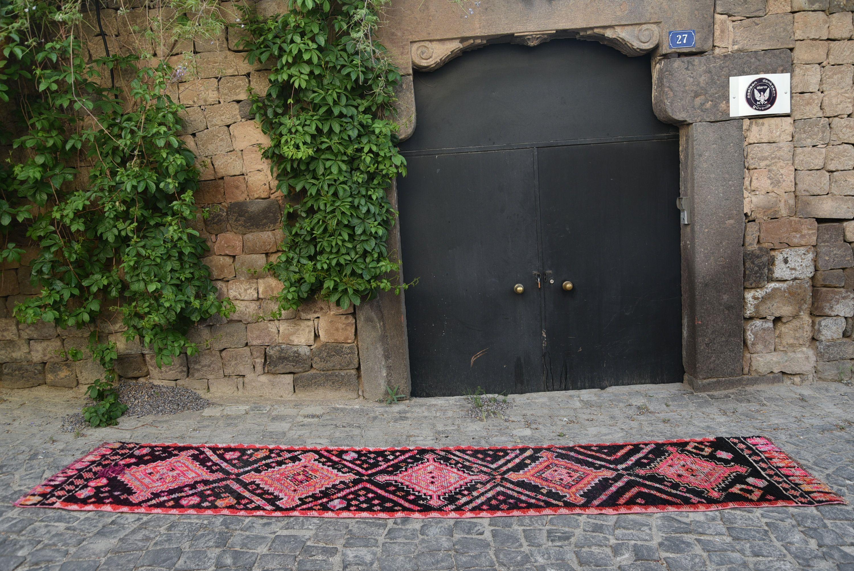 Hallway carpet runners sold by the foot  Turkish Rug Oushak Rug Pink Rug Black Rug Hallway Rug Runner Rug