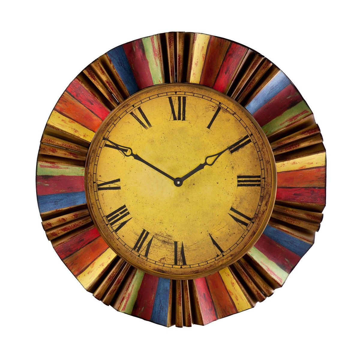 Liven up your decor with this colorful wall clock. Featuring a halo ...