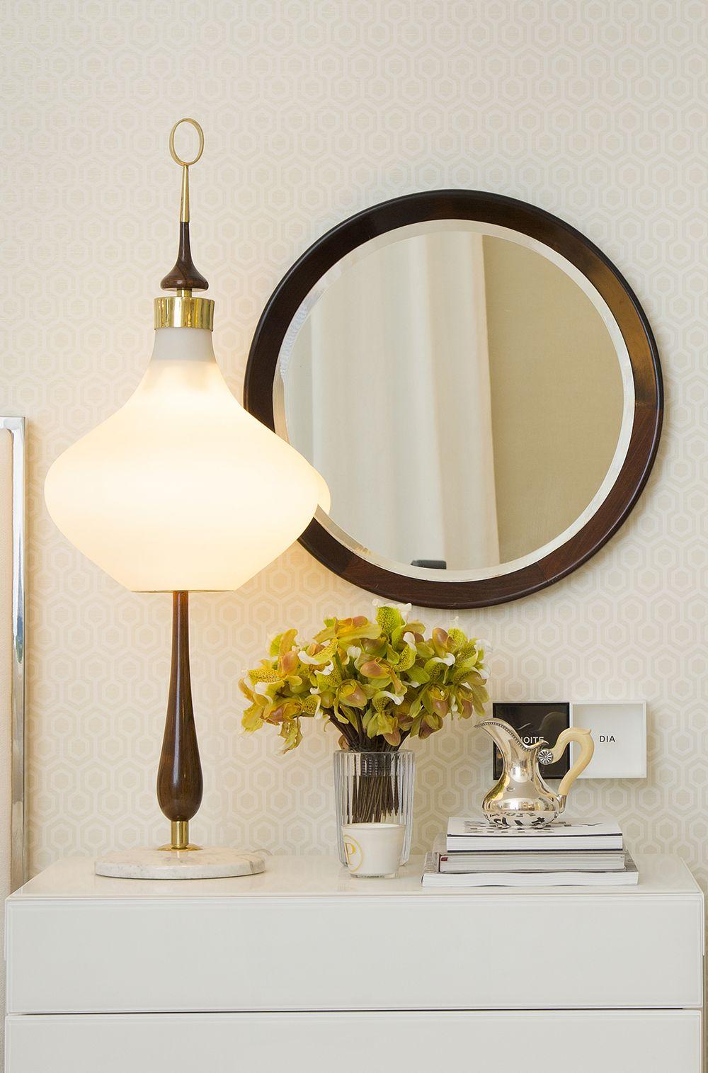 Decora 231 227 O De Detalhes Espelho Redondo De Madeira Escura