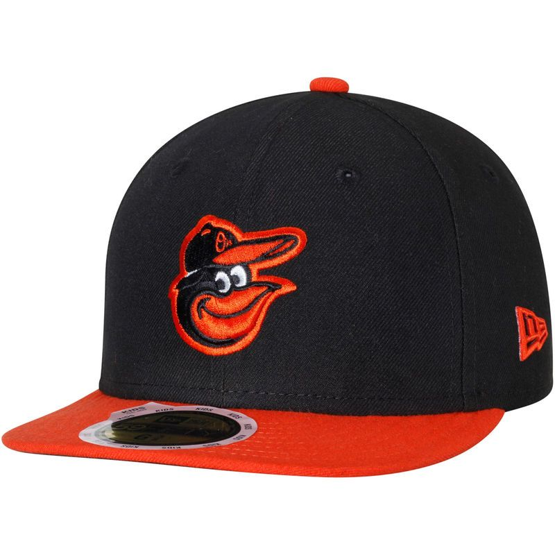 Baltimore Orioles New Era Youth Authentic Collection On-Field Road 59FIFTY  Fitted Hat - Black Orange 1ed2dd07bc8