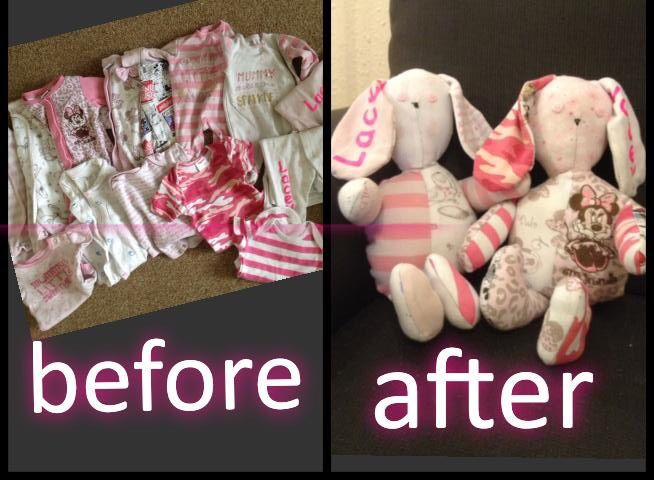 Keepsake bunnies out of baby's first clothes,