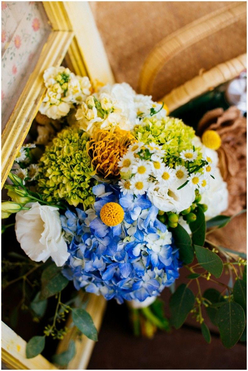 Blue and yellow summer wedding giaos getting hitched pinterest blue hydrangea and yellow flower bouquet izmirmasajfo