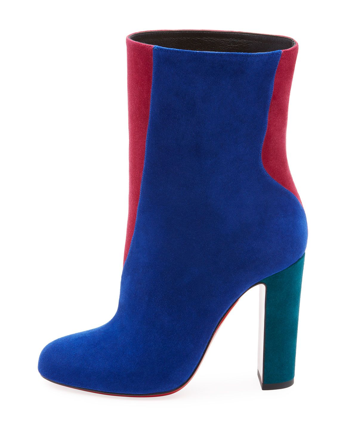 ec7c7241b5a Christian Louboutin Botty Double Colorblock Suede Red Sole Booties ...