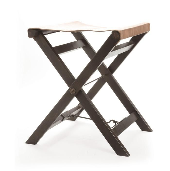 Astonishing Folding Leather And Wood Camp Stool By Bd Edition Pop Up Evergreenethics Interior Chair Design Evergreenethicsorg