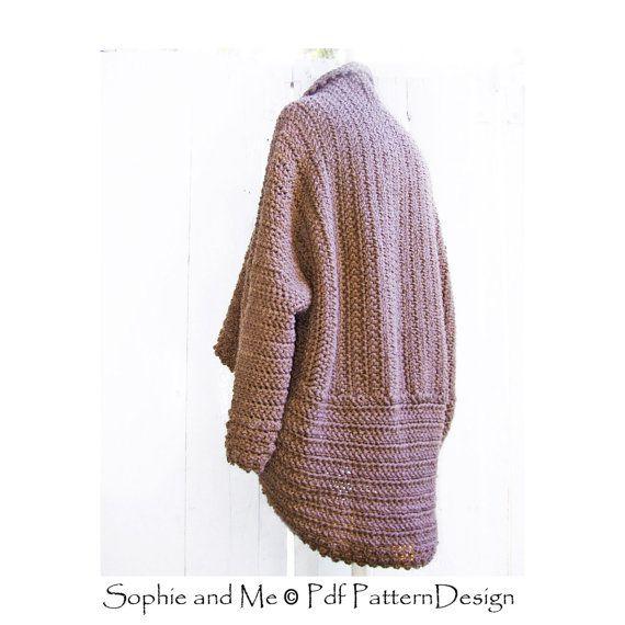 Brown Cuffed Shawl Cardigan Crochet Pattern Instant Download Pdf