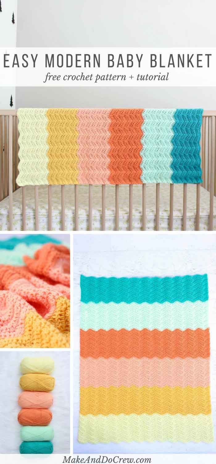 Modern Gender Neutral Crochet Baby Blanket Free Pattern