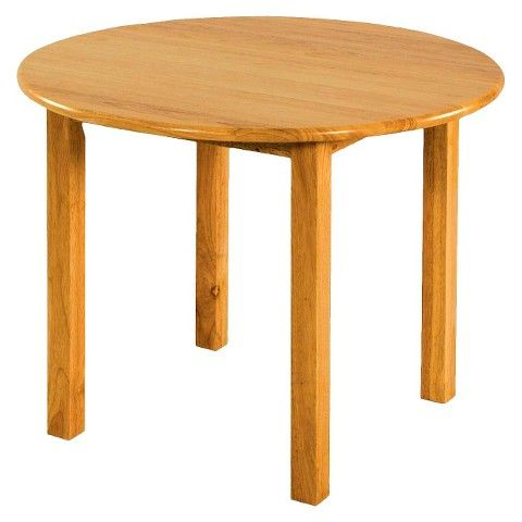 30 Round Wood Table With 22 Legs, Natural Oak