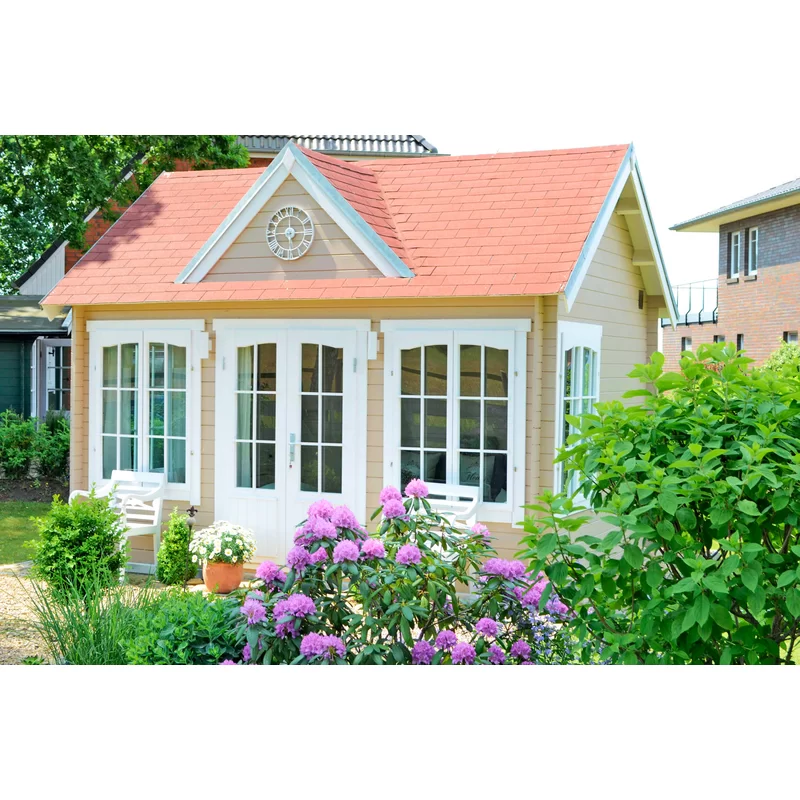 Alpholz 420 Cm X 320 Cm Gartenhaus Clockhouse Wayfair De In 2021 Roof Styles Glazed Door House Styles