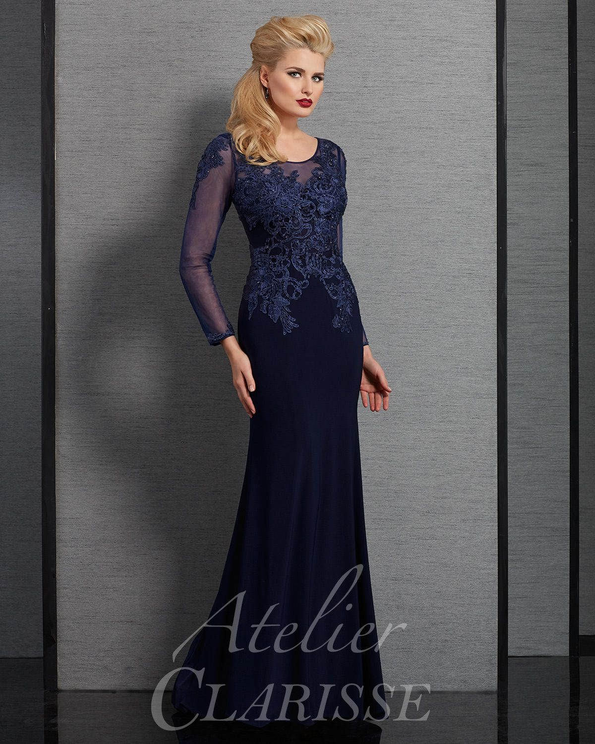 Navy Blue Modest Long Sleeve Mother Of The Bride Dress And Black Tie Evening Gown Available In Plus Sizes Prom