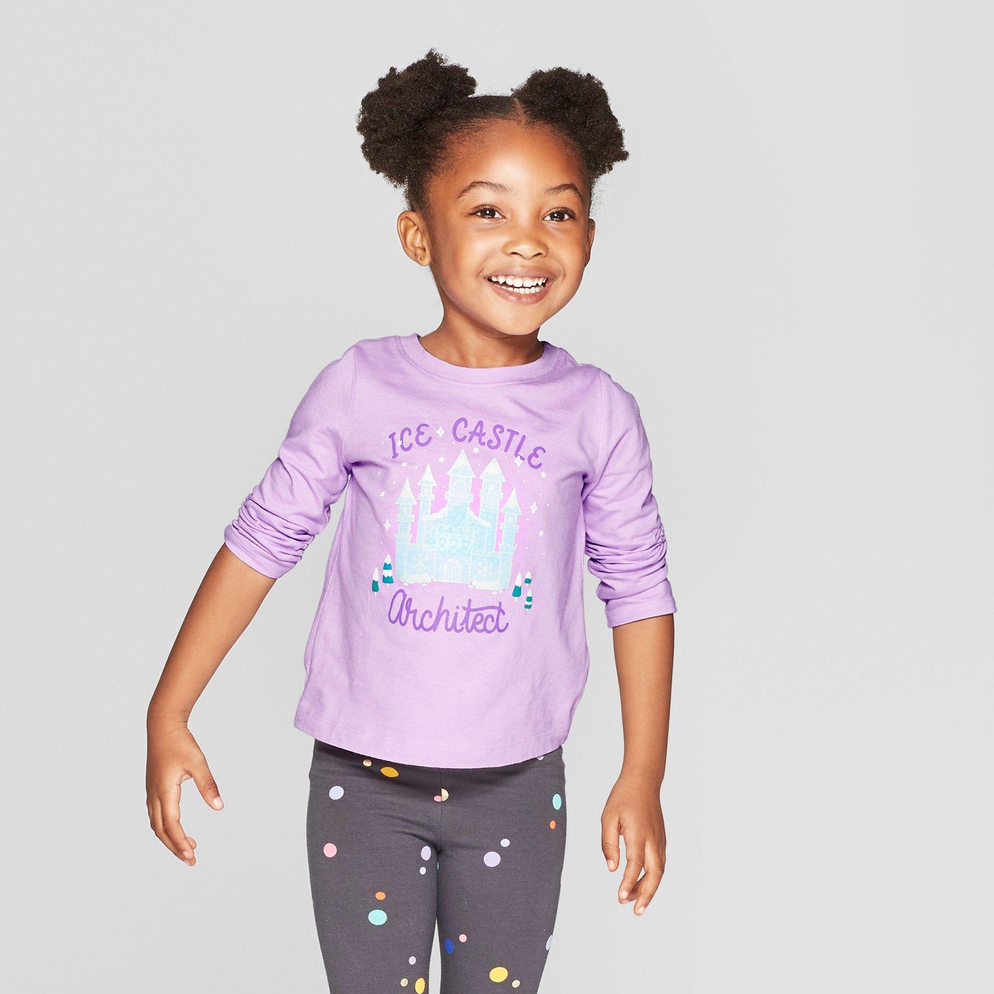 9b84dc4f Toddler Girls' Long Sleeve 'Ice Castle' Graphic T-Shirt - Cat & Jack Purple  18M