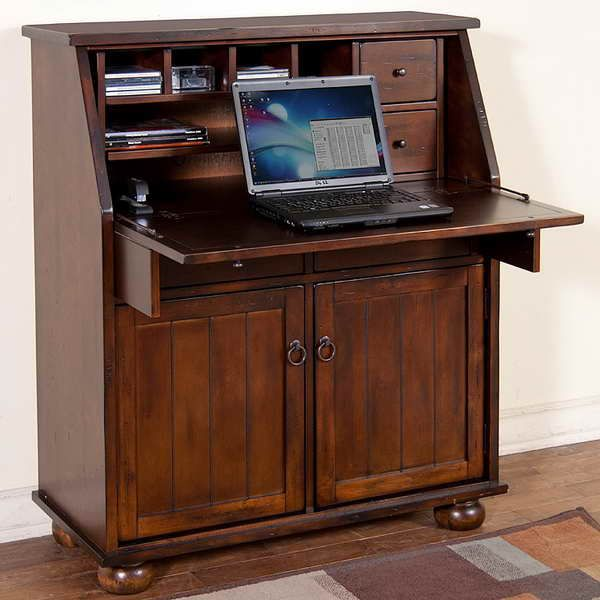This Distressed Birch Secretary Desk Folds Down And Opens Up To Reveal An Enormous Amount Of