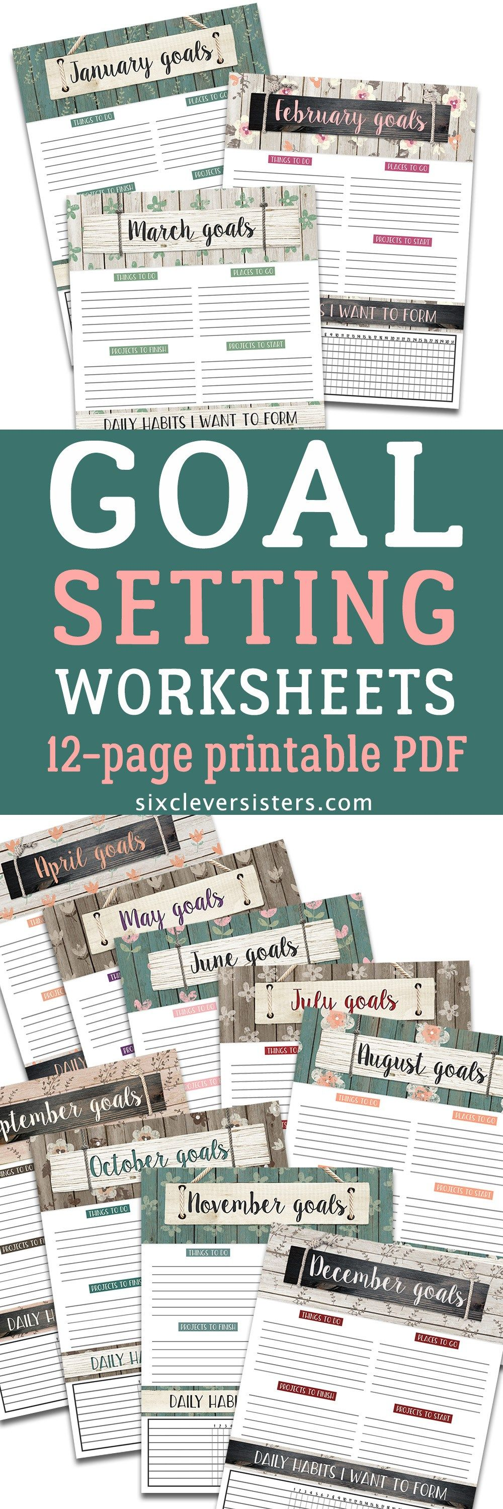 Monthly Goal Setting Worksheets for 2018 | Goal setting worksheet ...