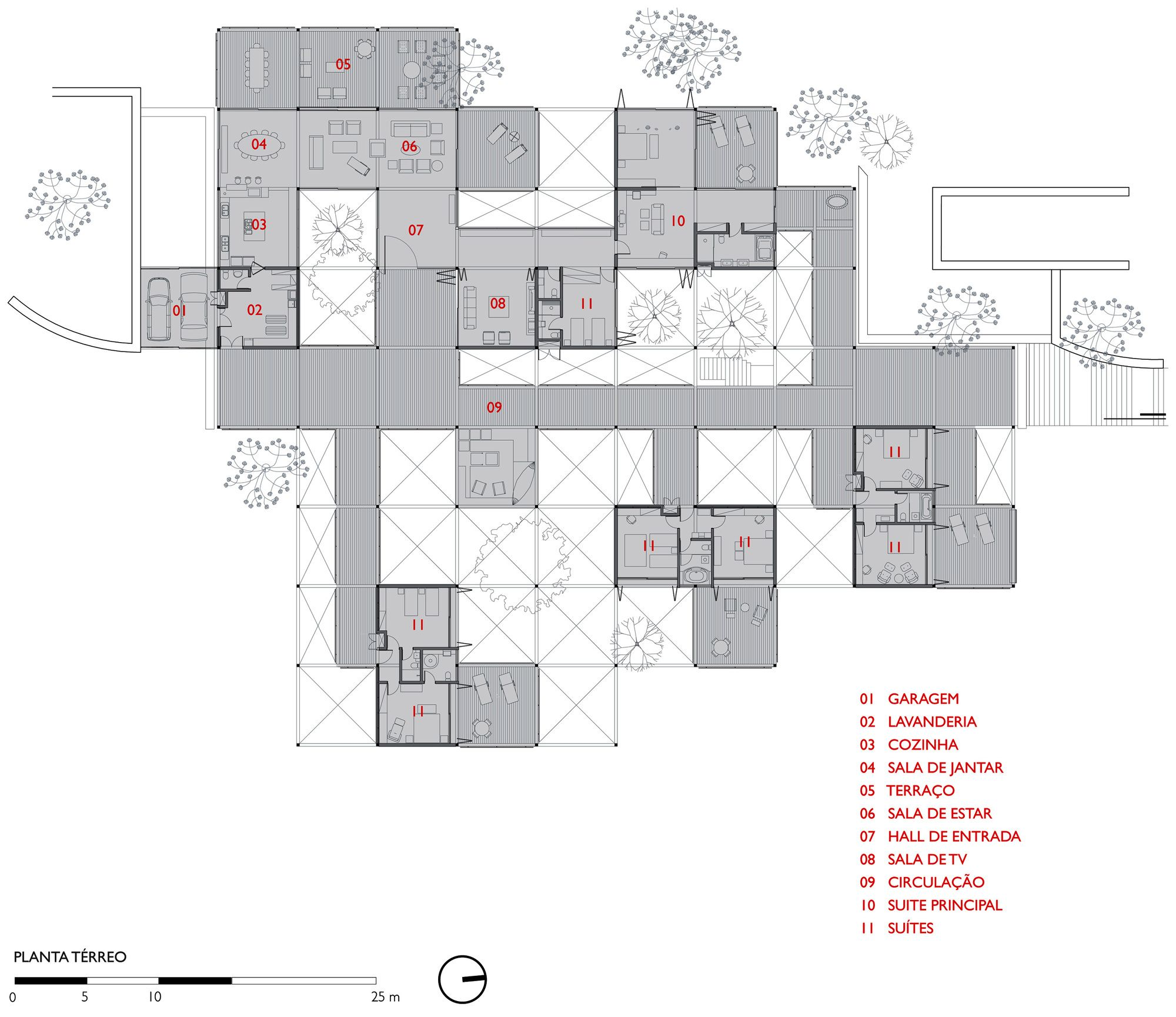 Gallery Of Grid House Fgmf Arquitetos 31 In 2020 Grid Architecture Club Design Grid
