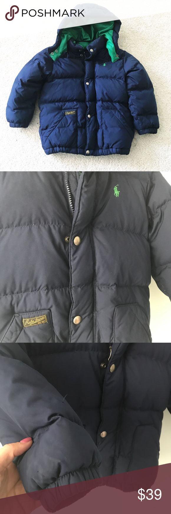 0e3347abf034 Boys Polo RALPH LAUREN Navy blue down Puffer Coat Gently worn down filled puffer  coat with