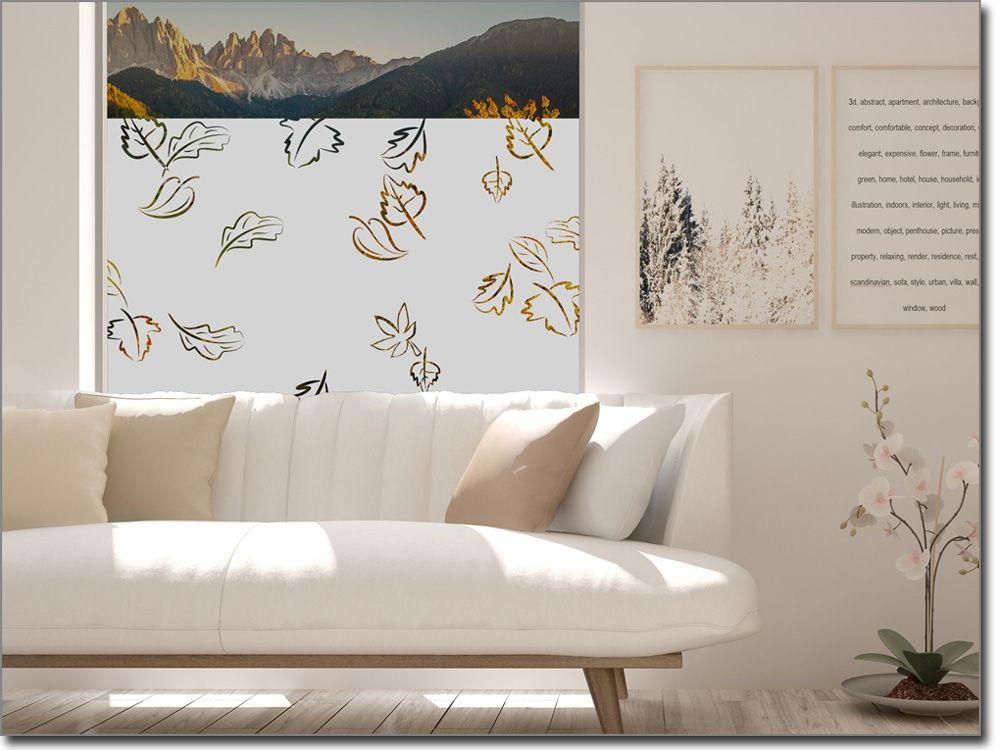 Fensterfolie mit Blättern als Sichtschutz im Wohnzimmer - sternenhimmel für badezimmer