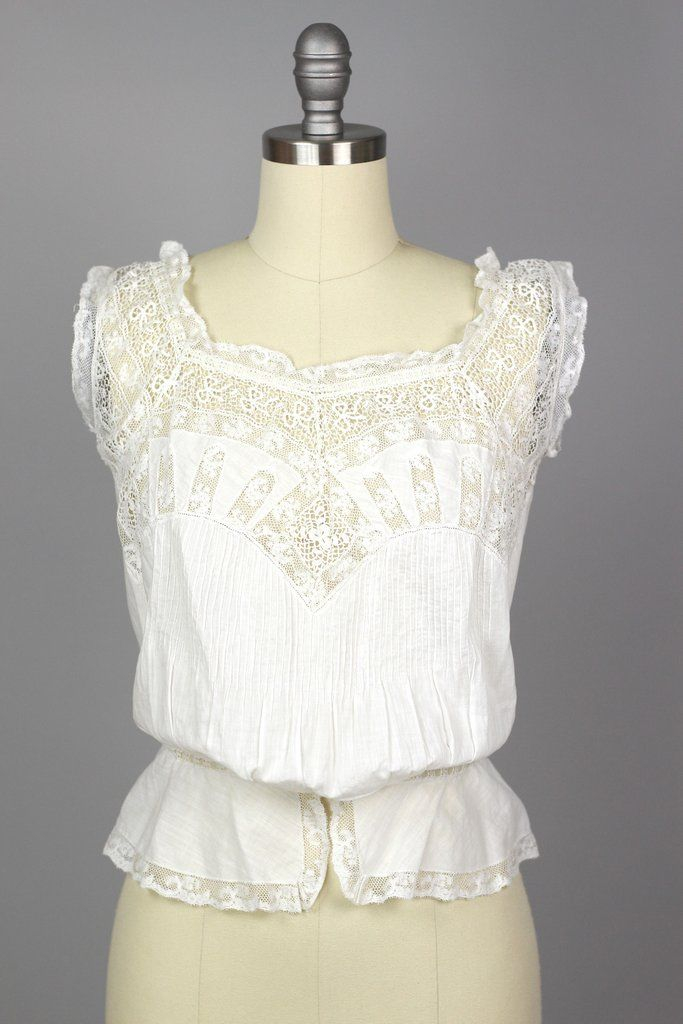 dad247007db977 Victorian Antique Entirely Handmade White Lace Corset Cover Blouse ...