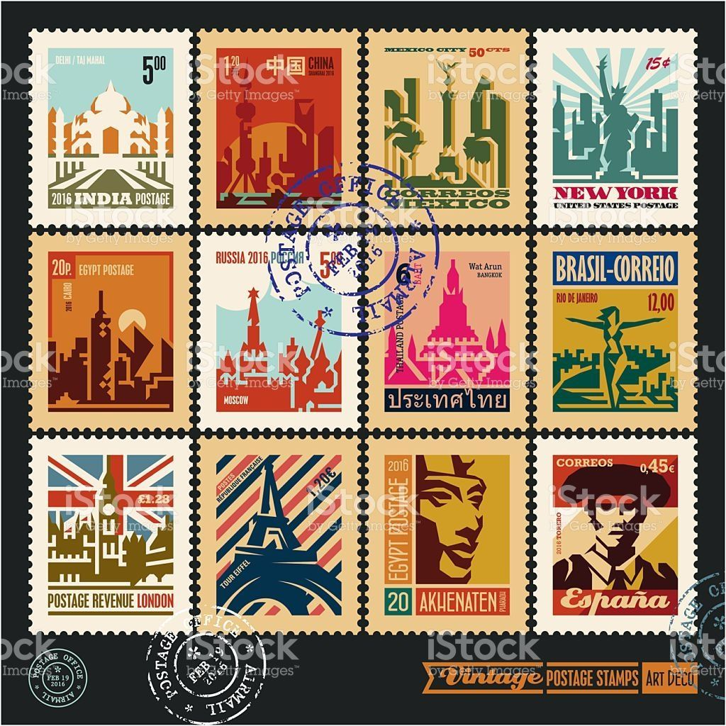 Travel Stamps Postage Stamps Cities Of The World Vintage