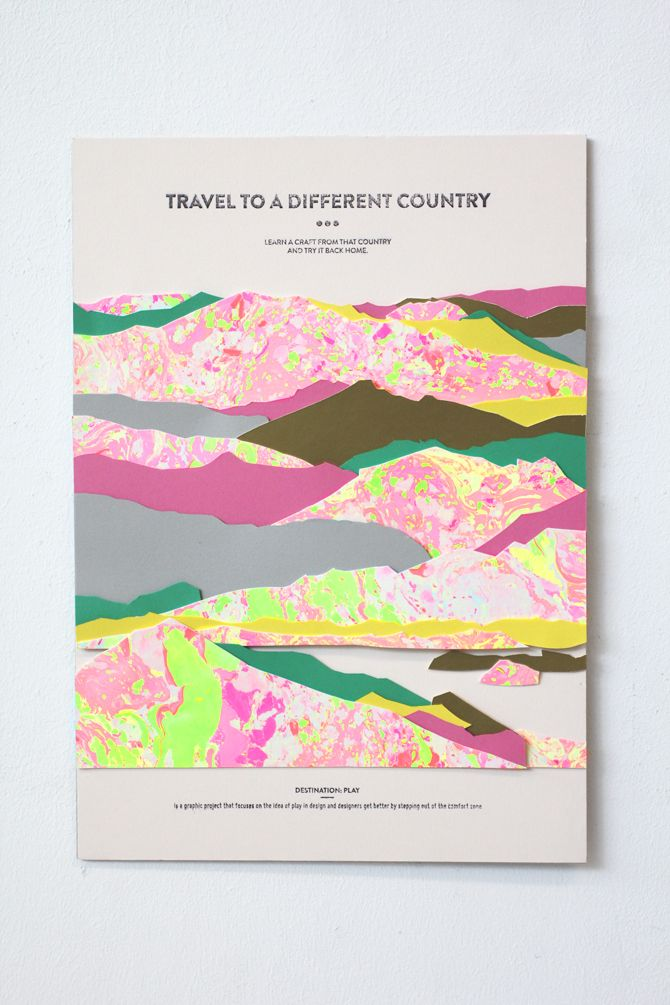 Travel to a Different Country // Layered Paper Collage