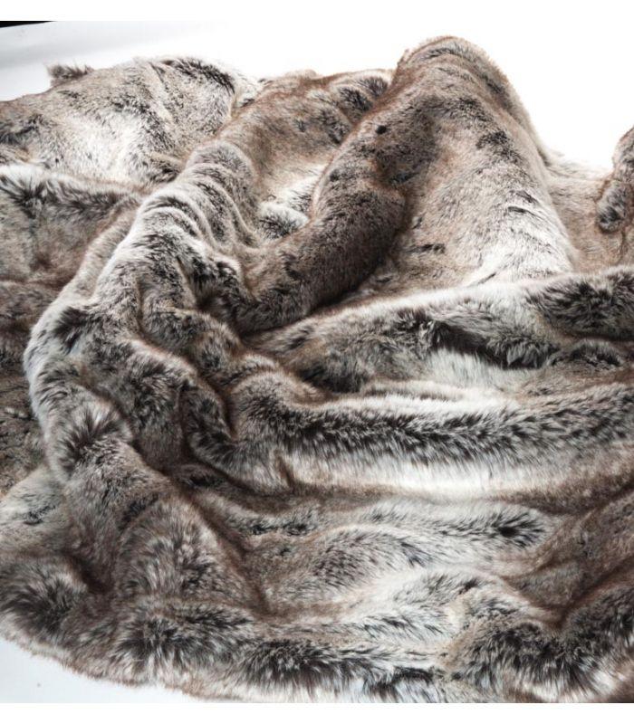 Plaid fausse fourrure luxe gris 130 x 180 cm en 2020 - Plaids fausse fourrure pour canape ...