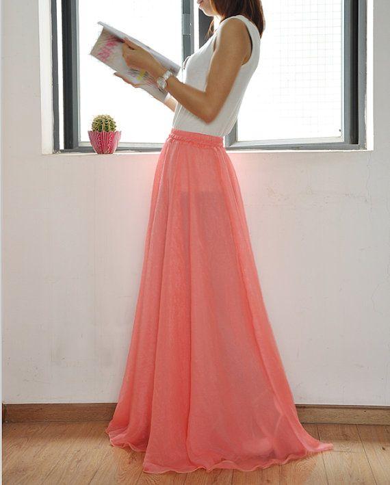 High Waist Maxi Skirt Chiffon Long Skirt Silk Skirts Elegant Elastic ... a89865469660