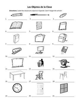Spanish Classroom Objects Labeling Worksheet | French ...
