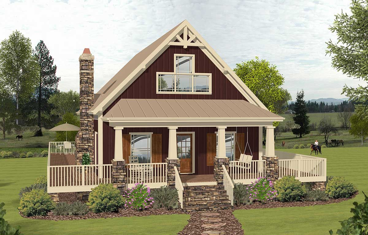 2 story cottage with 2 story great room 20135ga architectural designs house plans