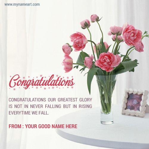 Name Write On Congratualtion Card Flower Port On Table Congratualtion Wishes Name Eca Congratulations Greetings Congratulations Flowers Happy Anniversary Cards