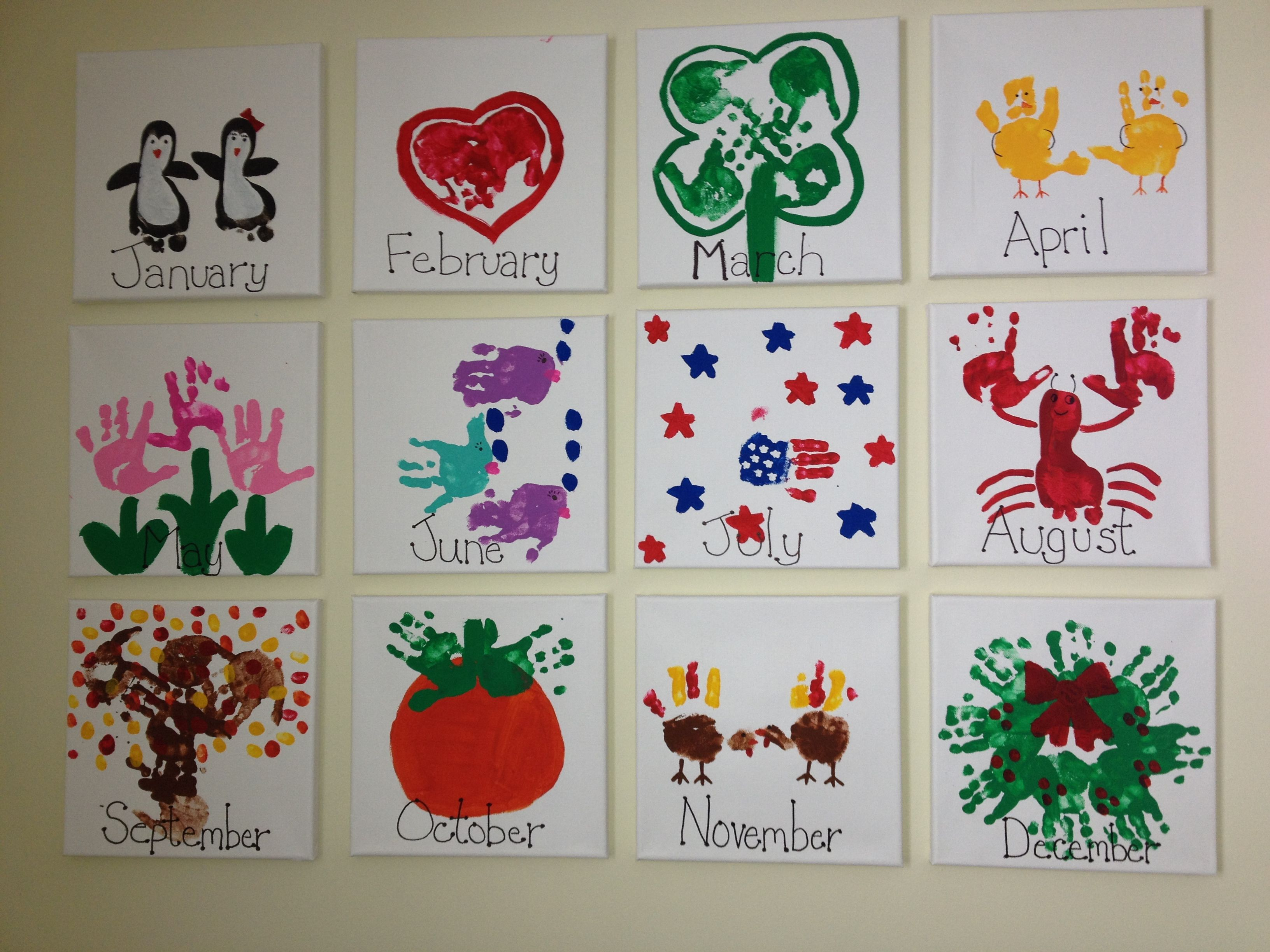 Calendar Preschool Crafts : Handprint calendar gifts for grandparents and aunts