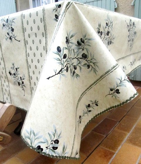 Olive Green Tablecloth French Oilcloth Black By HatchedinFrance
