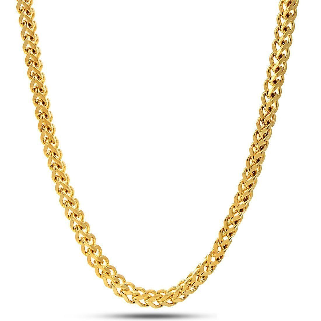 Sterling Silver Italian Solid Franco Square Box Link Yellow Gold Necklace Chains