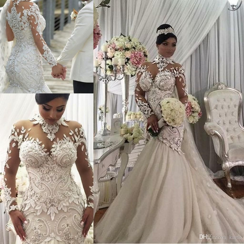 606879aaa38 Azzaria Haute Couture Nigeria Mermaid Long Sleeve Wedding Dresses 2018  Modest Sheer High Neck 3D Floral Lace Plus Size Arabic Wedding Gown Mermaid  Wedding ...