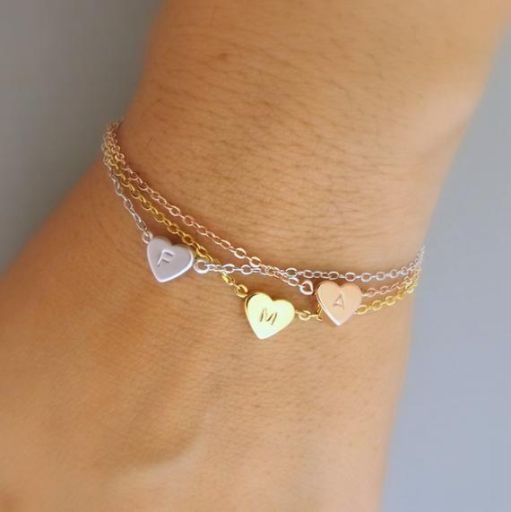 Dainty heart and initial bracelet- heart monogram bracelet,bridesmaid bracelet,personalized bridesmaid jewely,  heart bracelet wedding gift