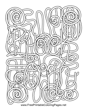 Rock N Roll Hidden Word Coloring Page This