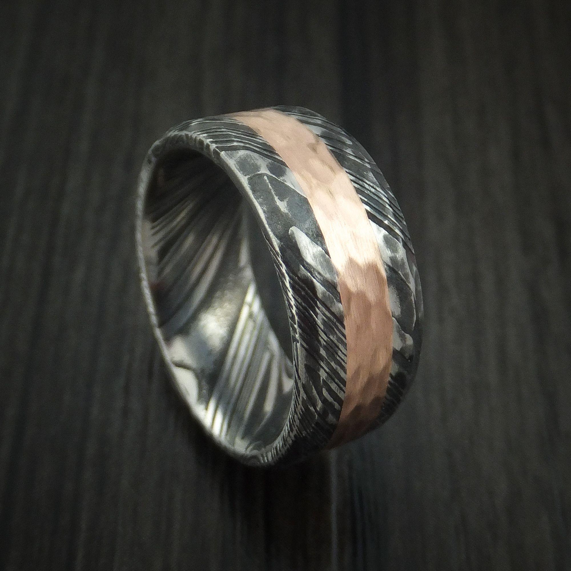 Kuro Damascus Steel Ring And 14k Rose Gold Wedding Band Hammered Genuine Craftsmanship Custom Made Damascus Steel Ring Mens Wedding Rings 14k Rose Gold Wedding Band