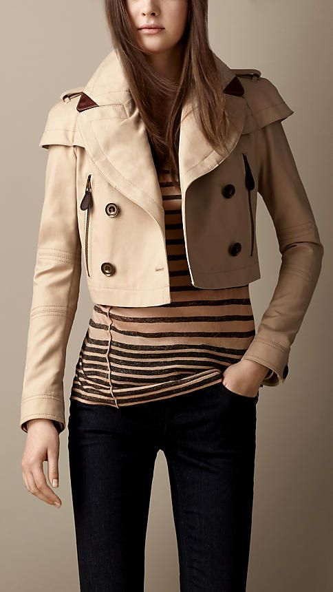 1dcd3b9ceb3 Cropped Cotton Trench Jacket | Burberry Burberry Shorts, Burberry Brit, Burberry  Trench Coat,