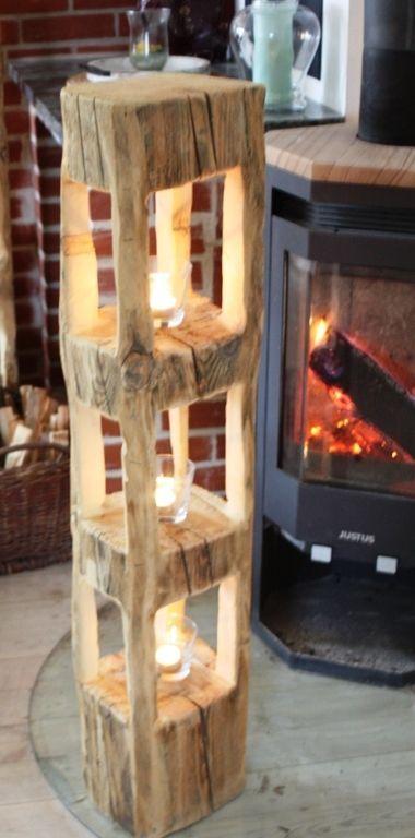 Holz Stele Sauna Deko Holzbalken Frühlingdeko Windlicht Laterne