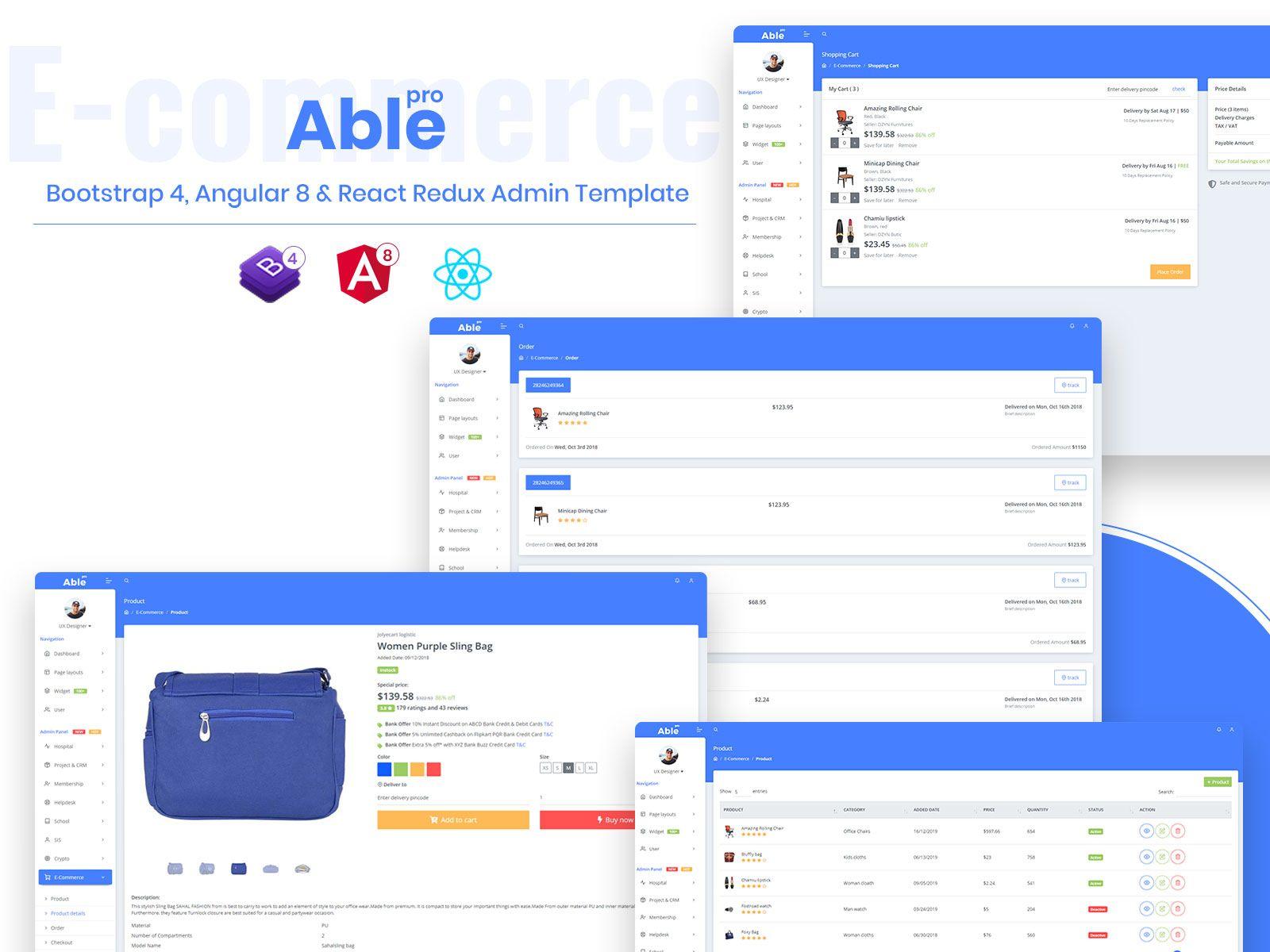 Able Pro 8 0 Bootstrap 4 Angular 8 React Redux Admin Template Templates Admin Angular