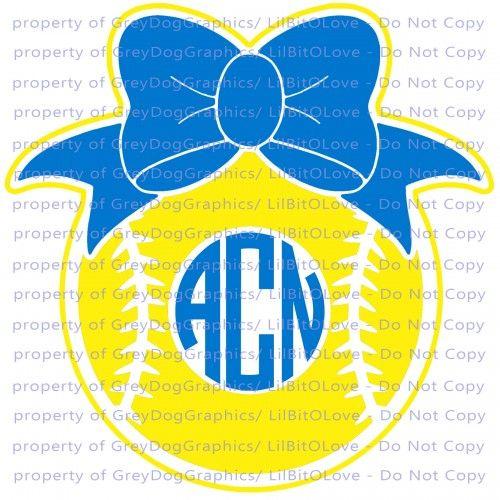 Custom Softball Monogram Vinyl Decal Custom Personalized Sticker - Bow custom vinyl decals for car